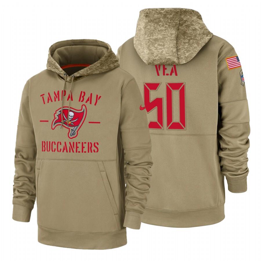 Tampa Bay Buccaneers #50 Vita Vea Nike Tan 2019 Salute To Service Name & Number Sideline Therma Pullover Hoodie