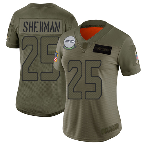 Nike Seahawks #25 Richard Sherman Camo Women's Stitched NFL Limited 2019 Salute to Service Jersey