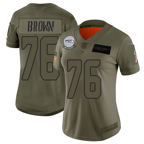 Nike Seahawks #76 Duane Brown Camo Women's Stitched NFL Limited 2019 Salute to Service Jersey