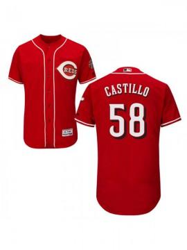 Men's Cincinnati Reds #58 Luis Castillo Authentic Red Alternate Flex Base Jersey