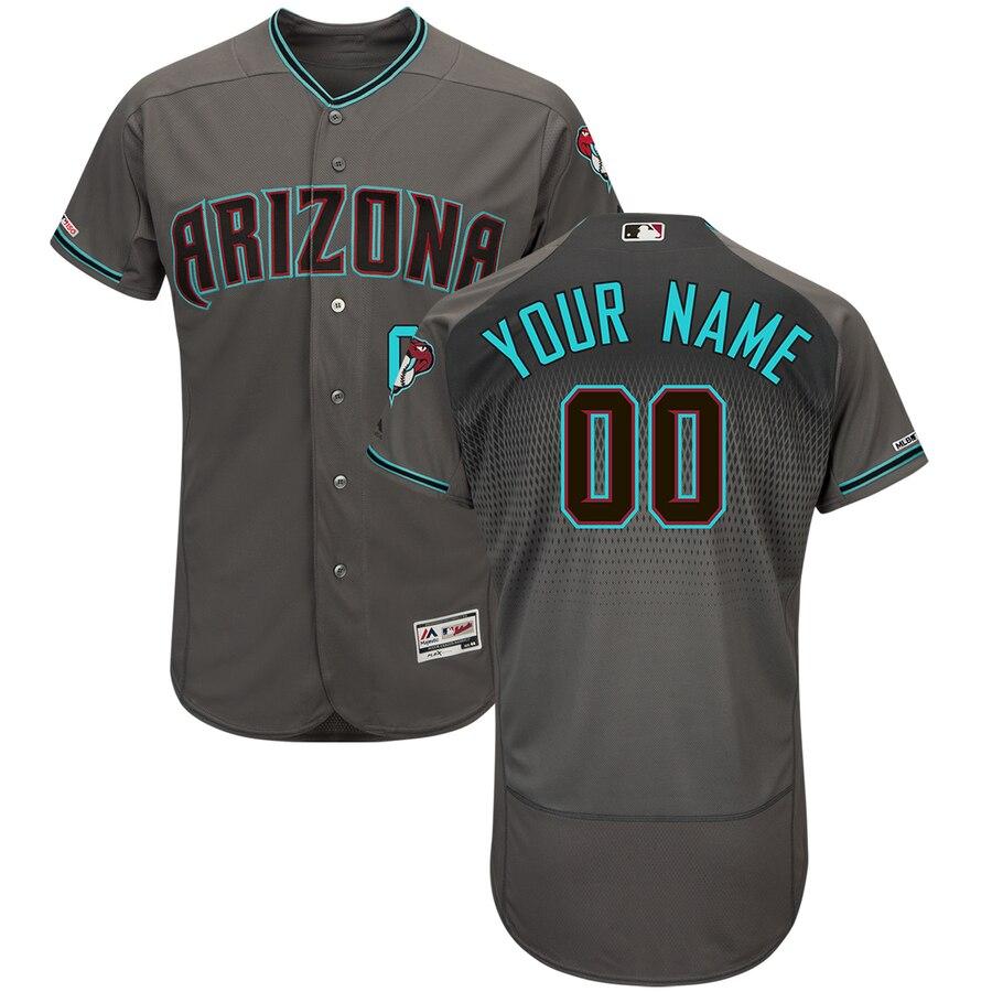 Men's Arizona Diamondbacks Majestic Gray Teal Flex Base Authentic Custom Jersey