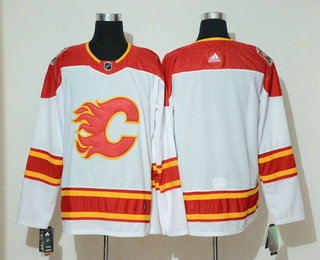 Men's Calgary Flames Blank White 2019 Heritage Classic Adidas Stitched NHL Jersey