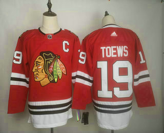 Men's Chicago Blackhawks #19 Jonathan Toews adidas Home Authentic Red Player Jersey