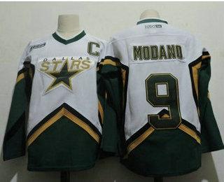 Men's Dallas Stars #9 Mike Modano 2005 White CCM Throwback Stitched Vintage Hockey Jersey