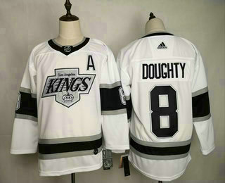 Men's Los Angeles Kings #8 Drew Doughty White With A Patch Adidas Stitched NHL Jersey
