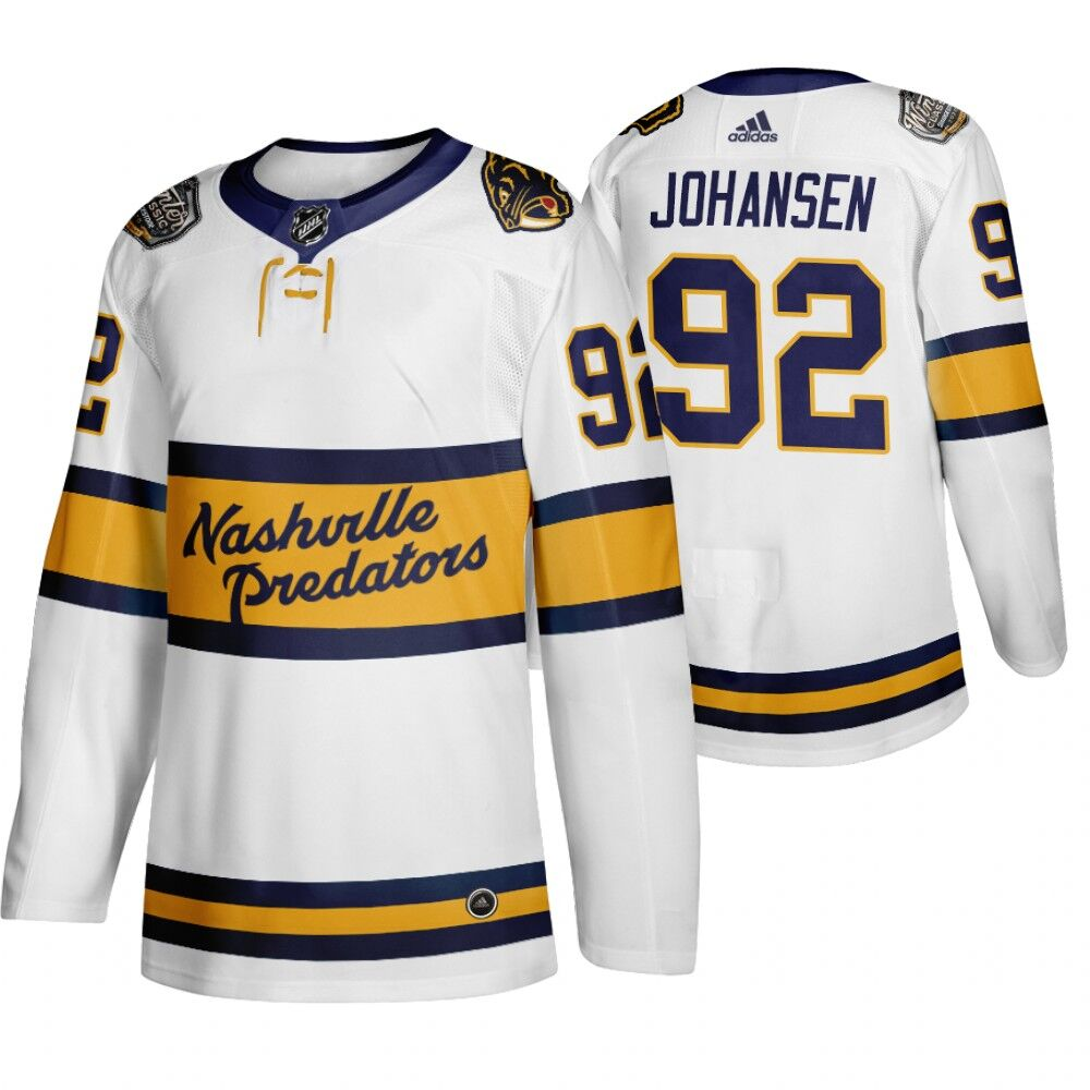 Men's Nashville Predators 92 Ryan Johansen White 2020 Winter Classic Adidas Jersey