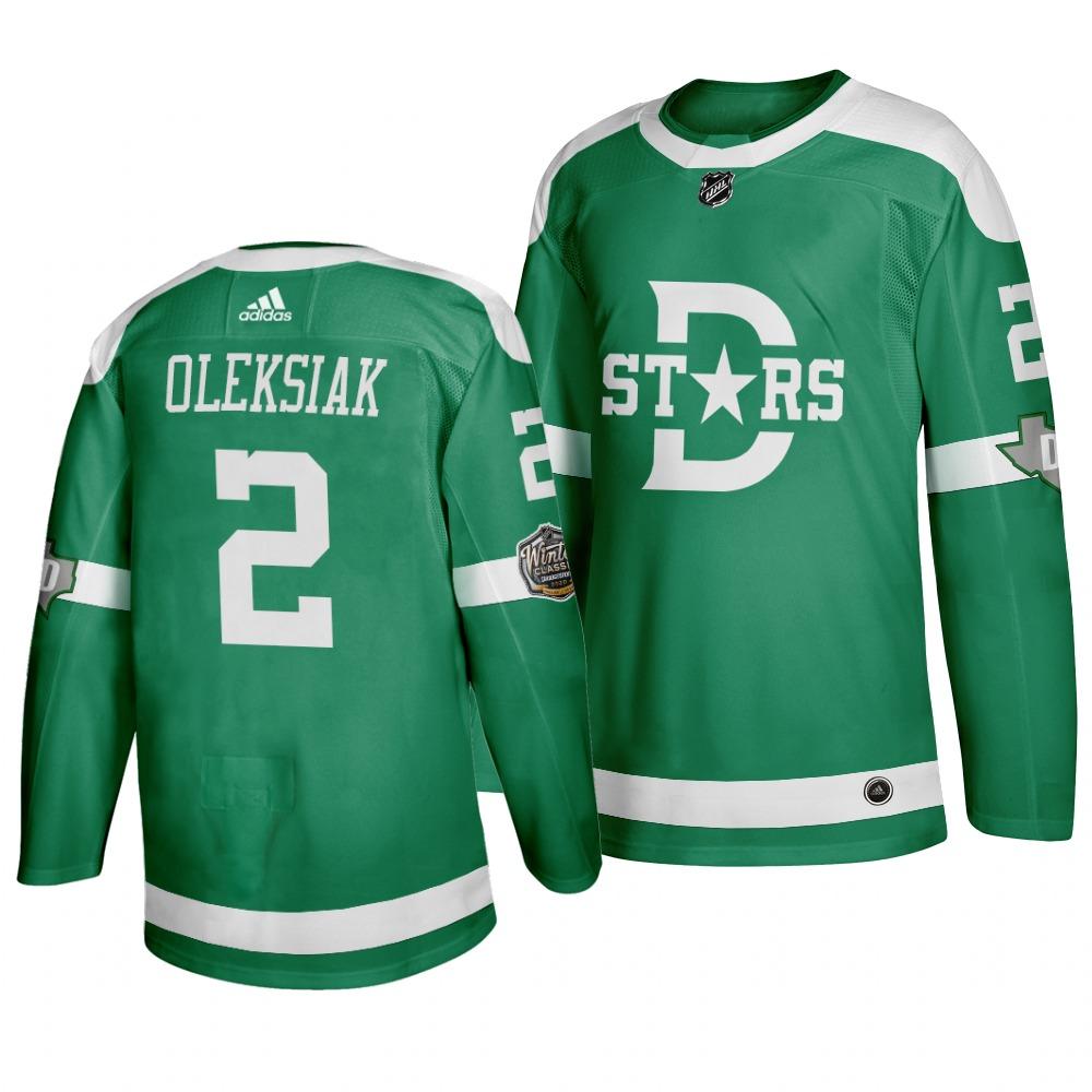 Men's Dallas Stars 2 Jamie Oleksiak Green 2020 Winter Classic Adidas Jersey