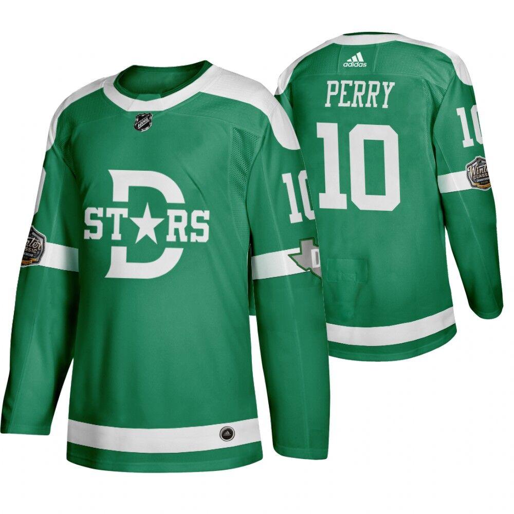 Men's Dallas Stars 10 Corey Perry Green 2020 Winter Classic Adidas Jersey