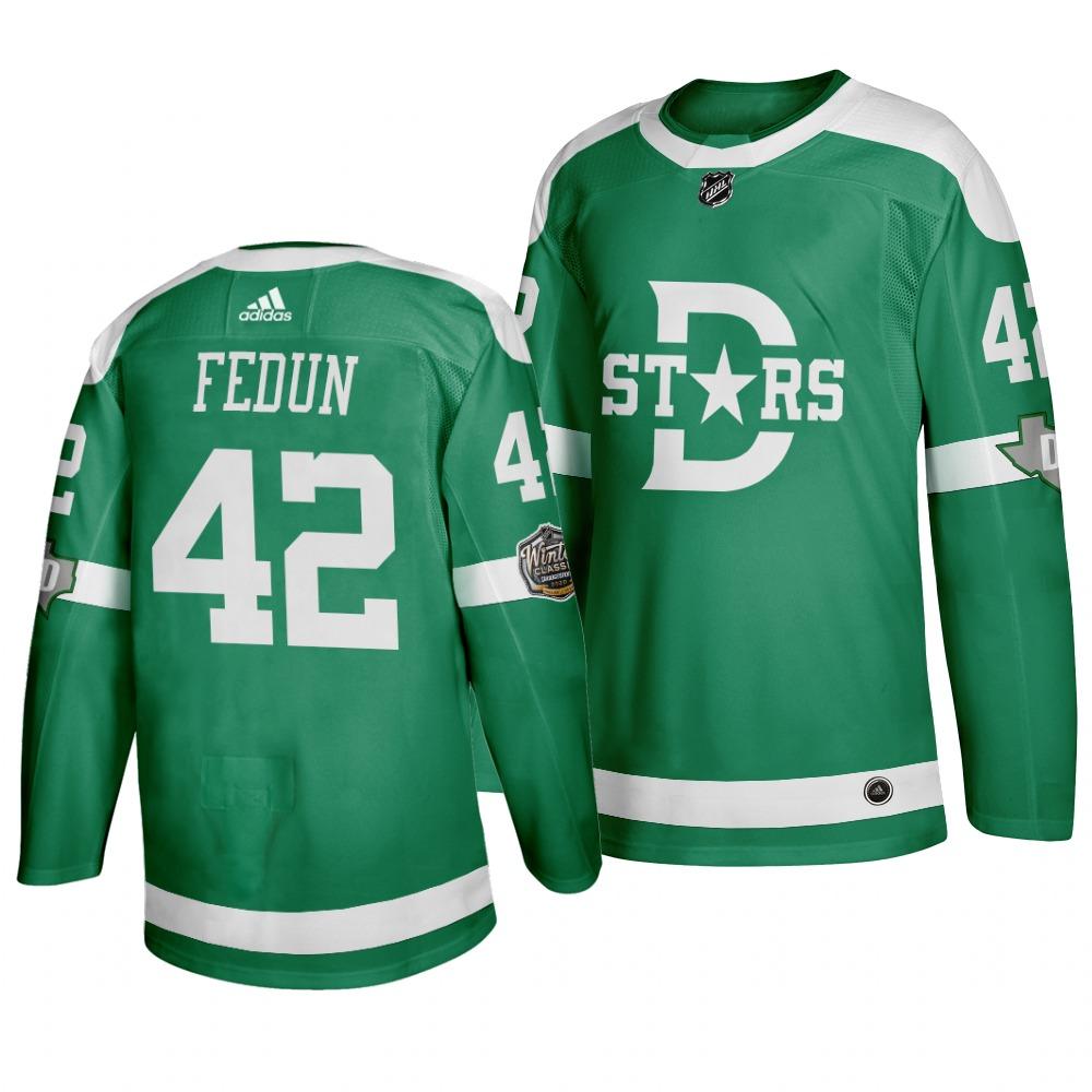 Men's Dallas Stars 42 Taylor Fedun Green 2020 Winter Classic Adidas Jersey