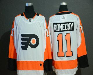 Men's Philadelphia Flyers #11 Travis Konecny White Adidas Stitched NHL Jersey