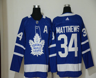 Men's Toronto Maple Leafs #34 Auston Matthews Royal Blue With A Patch Home Stitched NHL Jersey