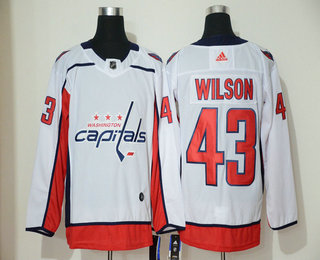 Men's Washington Capitals #43 Tom Wilson White Adidas Stitched NHL Jersey