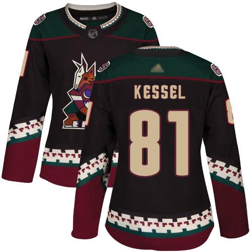 Arizona Coyotes #81 Phil Kessel Black Alternate Authentic Women's Stitched Hockey Jersey