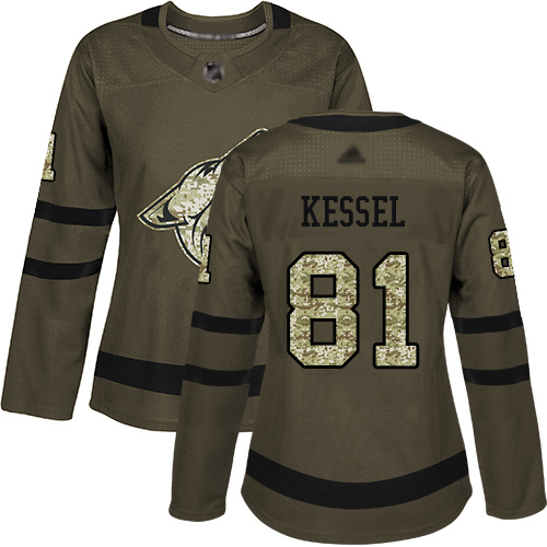 Arizona Coyotes #81 Phil Kessel Green Salute to Service Women's Stitched Hockey Jersey