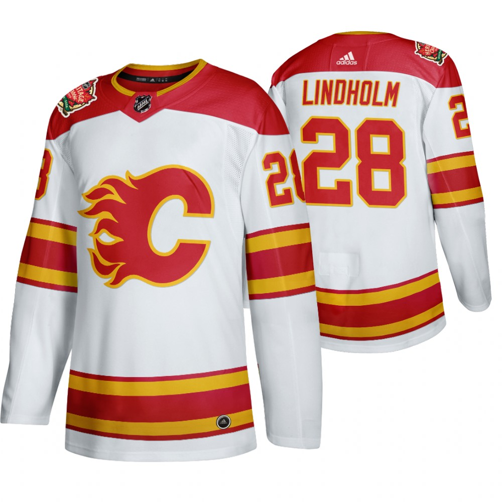 Men's Calgary Flames #28 Elias Lindholm 2019 Heritage Classic Authentic White Jersey
