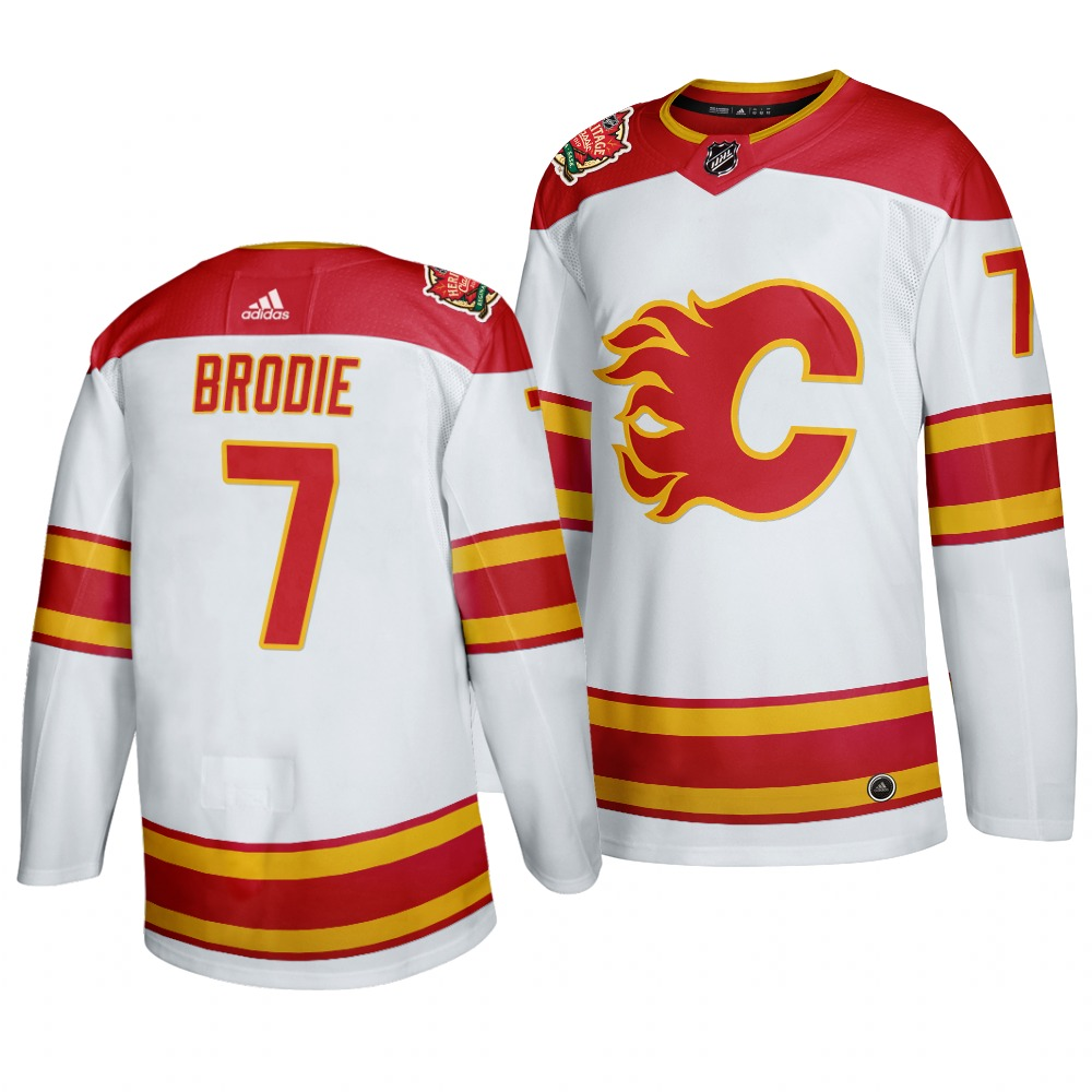 Men's Calgary Flames #7 T. J. Brodie 2019-20 White Heritage Authentic Classic Jersey