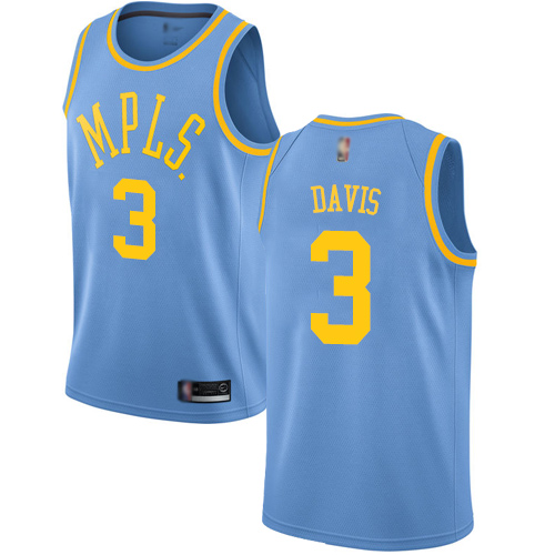 Lakers #3 Anthony Davis Royal Blue Youth Basketball Swingman Hardwood Classics Jersey