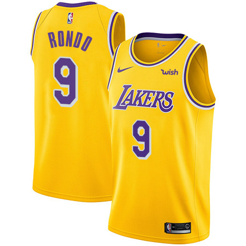 Lakers #9 Rajon Rondo Gold Youth Basketball Swingman Icon Edition Jersey