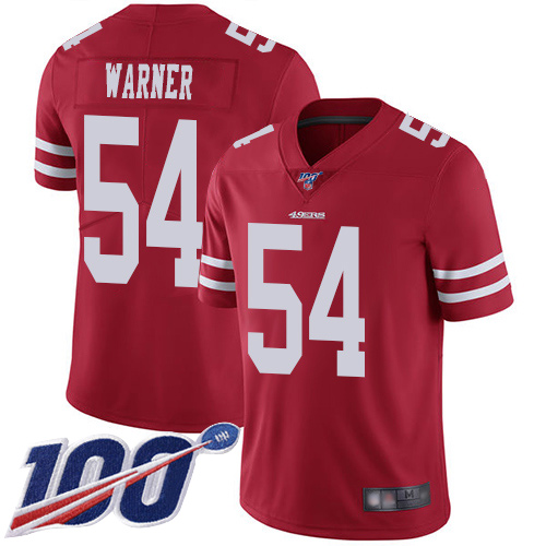 Men's San Francisco 49ers #54 Fred Warner Red Team Color Vapor Untouchable Limited Player 100th Season Football Jersey