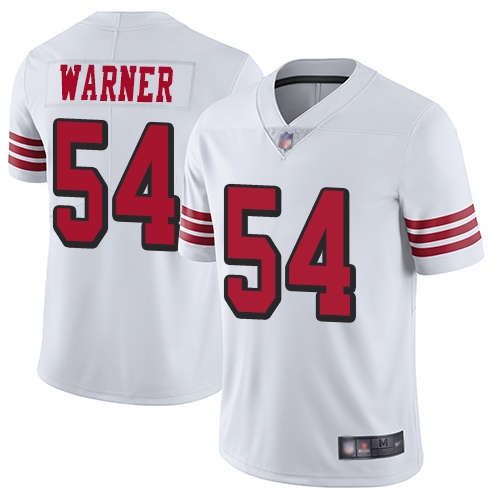 Men's San Francisco 49ers #54 Fred Warner Limited White Rush Vapor Untouchable Football Jersey
