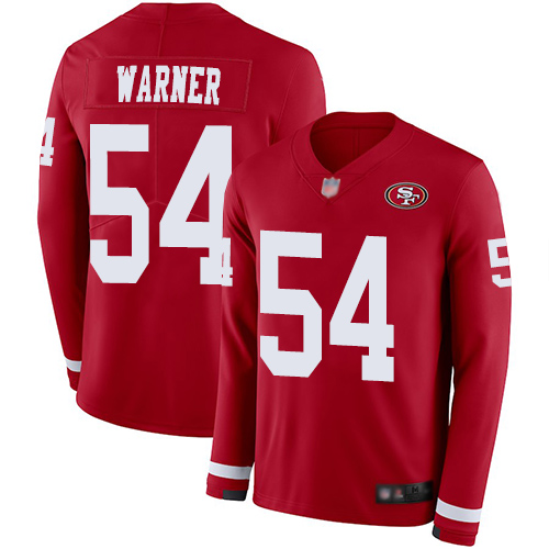 Men's San Francisco 49ers #54 Fred Warner Limited Red Therma Long Sleeve Football Jersey