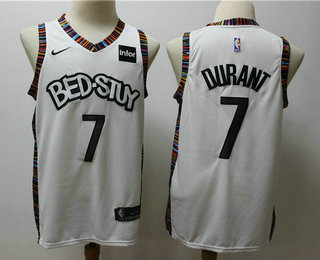 Men's Brooklyn Nets #7 Kevin Durant NEW White 2020 City Edition NBA Swingman Jersey With The Sponsor Logo