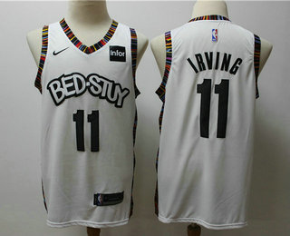 Men's Brooklyn Nets #11 Kyrie Irving NEW White 2020 City Edition NBA Swingman Jersey With The Sponsor Logo