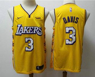 Men's Los Angeles Lakers #3 Anthony Davis Yellow 2020 Nike City Edition Swingman Jersey With The Sponsor Logo