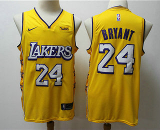 Men's Los Angeles Lakers #24 Kobe Bryant Yellow 2020 Nike City Edition Swingman Jersey With The Sponsor Logo