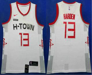 Men's Houston Rockets #13 James Harden White 2020 Nike City Edition Swingman Jersey With The Sponsor Logo
