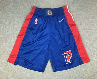 Men's Detroit Pistons New Blue 2019 Nike Swingman Stitched Shorts