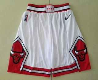 Men's Chicago Bulls White 2019 Nike Swingman Stitched NBA Shorts