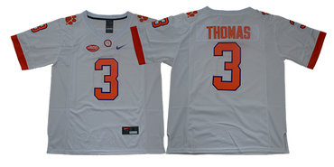 Men's Clemson Tigers #3 Xavier Thomas White Stitched NCAA Nike 2019 New College Football Jersey