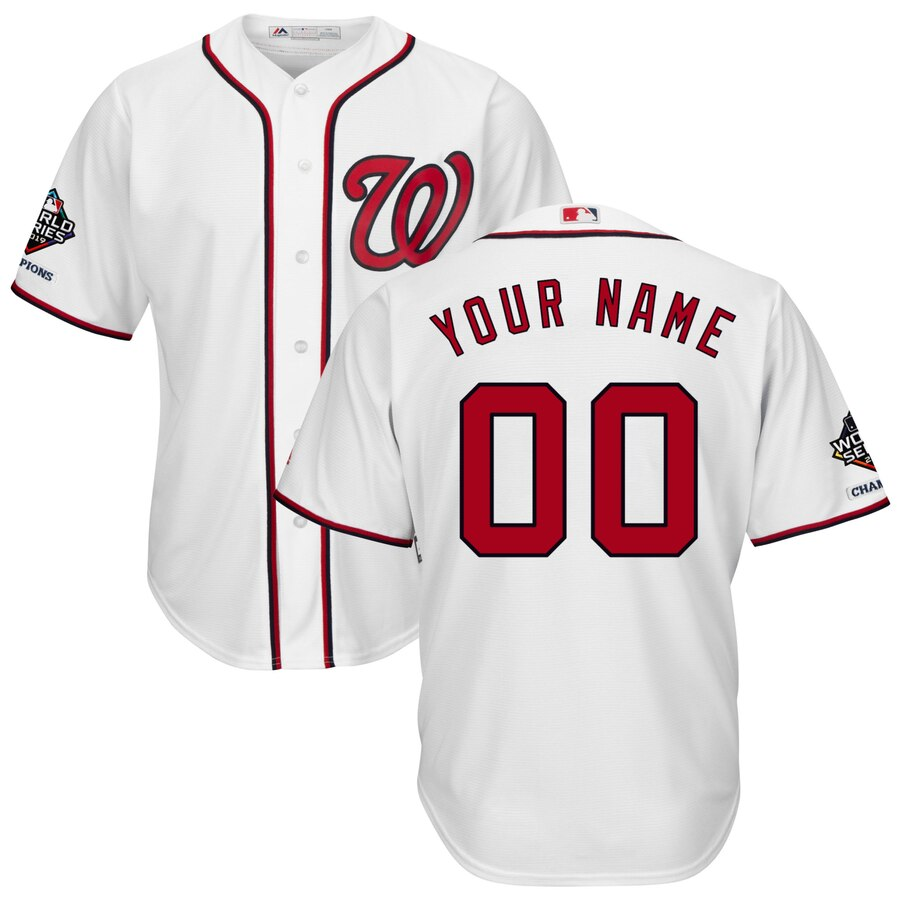Washington Nationals Majestic 2019 World Series Champions Home Official Cool Base Custom White Jersey