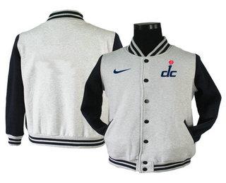 Men's Washington Wizards Gray Stitched NBA Jacket