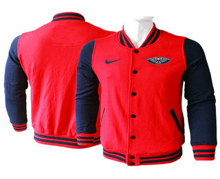 Men's New Orleans Pelicans Red Stitched NBA Jacket