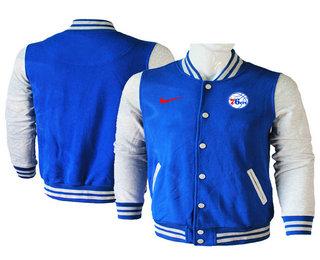 Men's Philadelphia 76ers Blue Stitched NBA Jacket