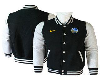 Men's Golden State Warriors Black Stitched NBA Jacket