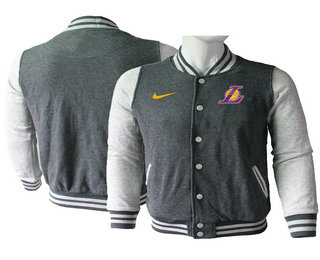 Men's Los Angeles Lakers Gray Stitched NBA Jacket