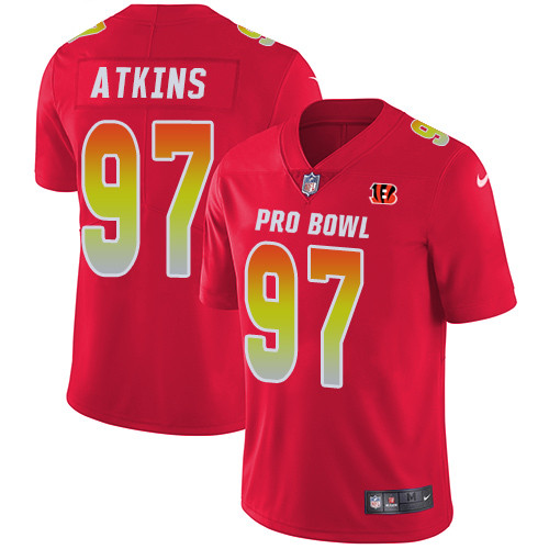 Nike Cincinnati Bengals #97 Geno Atkins Red Men's Stitched NFL Limited AFC 2019 Pro Bowl Jersey