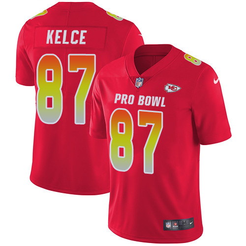 Nike Kansas City Chiefs #87 Travis Kelce Red Men's Stitched NFL Limited AFC 2019 Pro Bowl Jersey