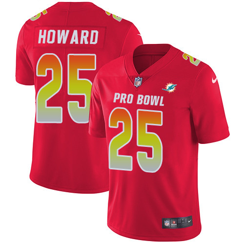 Nike Miami Dolphins #25 Xavien Howard Red Men's Stitched NFL Limited AFC 2019 Pro Bowl Jersey