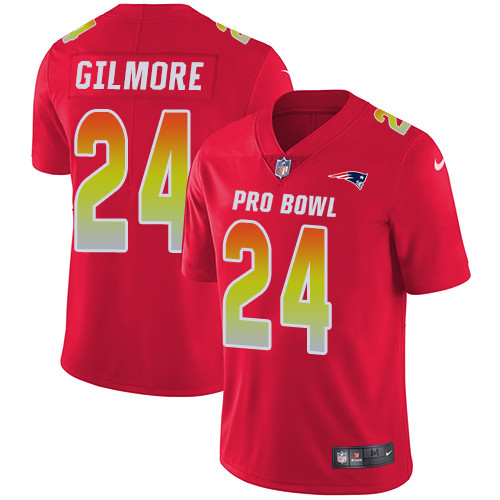 Nike New England Patriots #24 Stephon Gilmore Red Men's Stitched NFL Limited AFC 2019 Pro Bowl Jersey