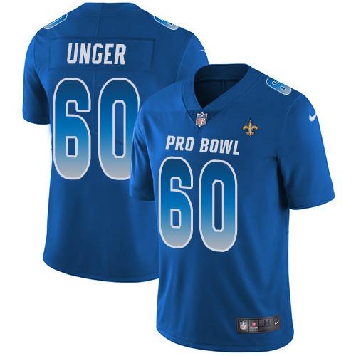Nike New Orleans Saints #60 Max Unger Royal Men's Stitched NFL Limited NFC 2019 Pro Bowl Jersey