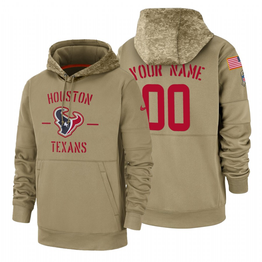 Houston Texans Custom Nike Tan 2019 Salute To Service Name & Number Sideline Therma Pullover Hoodie