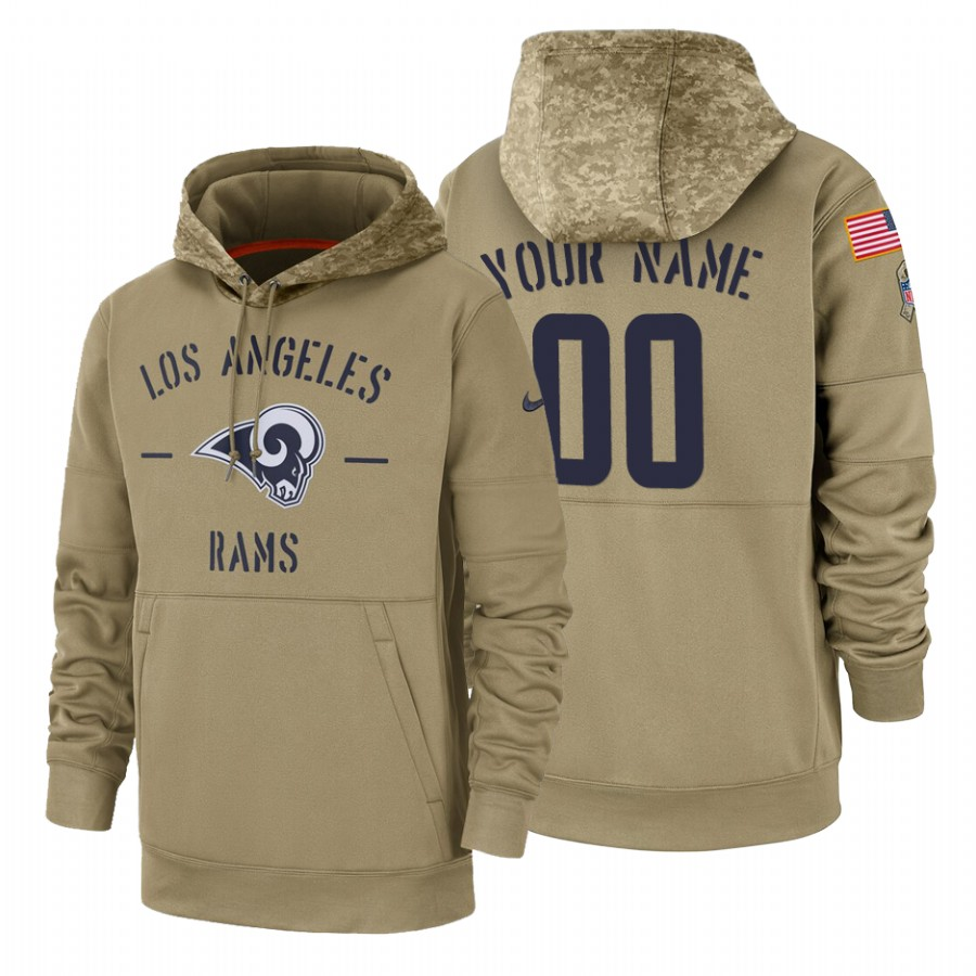 Los Angeles Rams Custom Nike Tan 2019 Salute To Service Name & Number Sideline Therma Pullover Hoodie