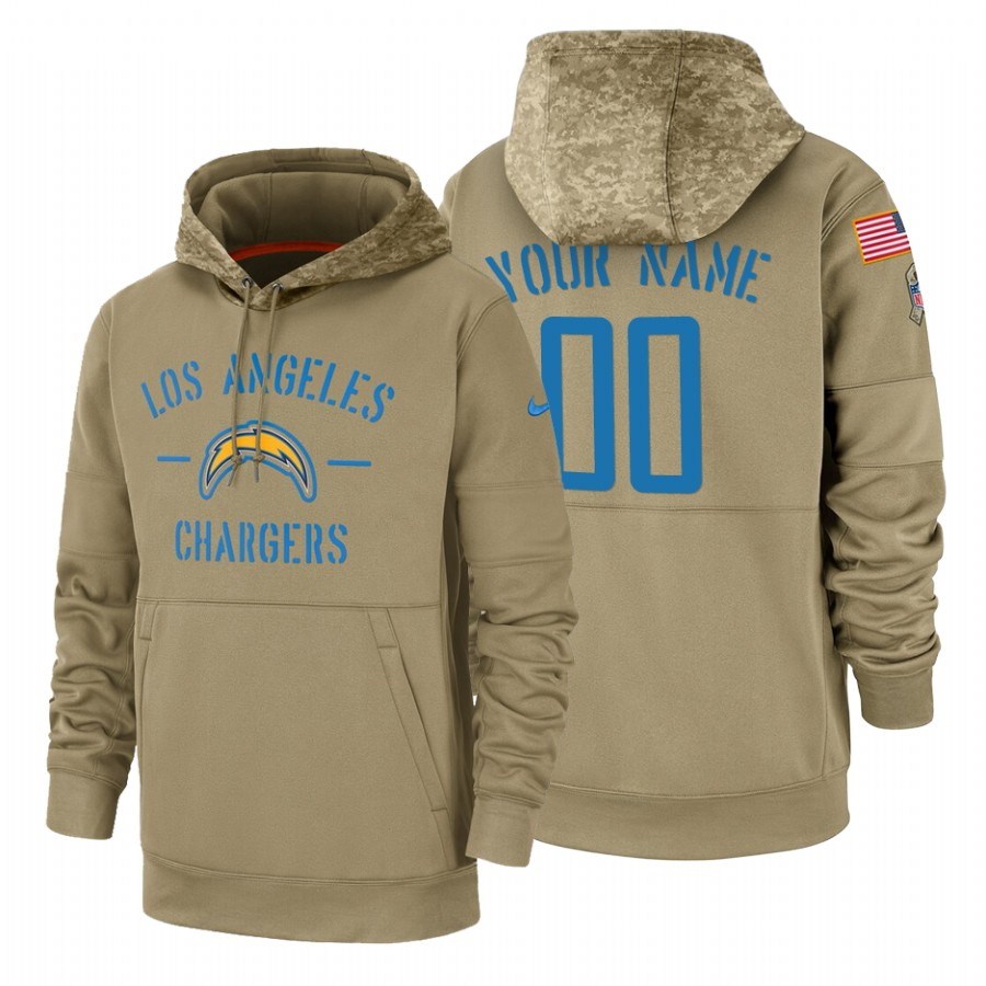 Los Angeles Chargers Custom Nike Tan 2019 Salute To Service Name & Number Sideline Therma Pullover Hoodie