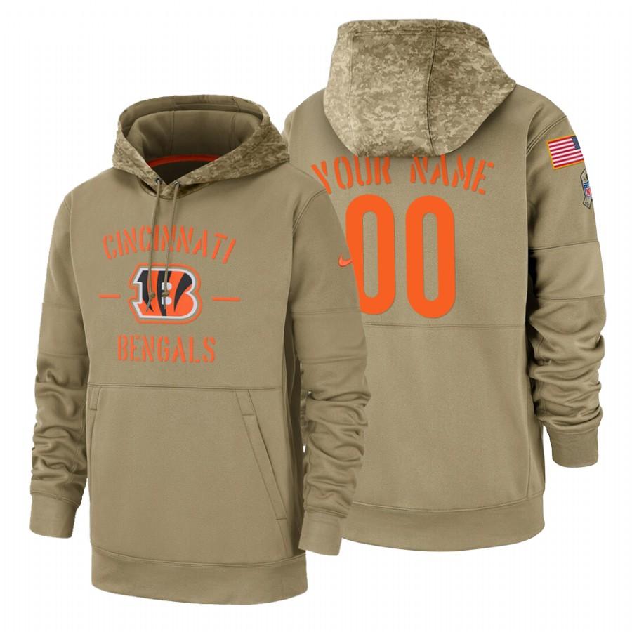 Cincinnati Bengals Custom Nike Tan 2019 Salute To Service Name & Number Sideline Therma Pullover Hoodie