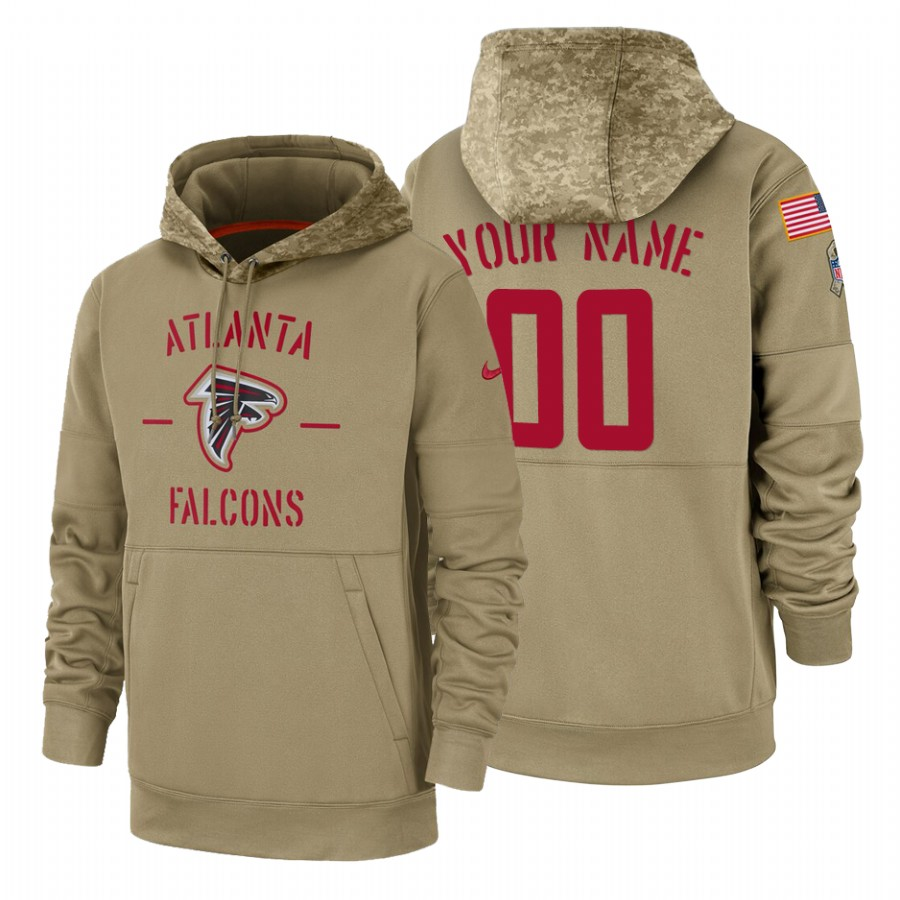 Atlanta Falcons Custom Nike Tan 2019 Salute To Service Name & Number Sideline Therma Pullover Hoodie