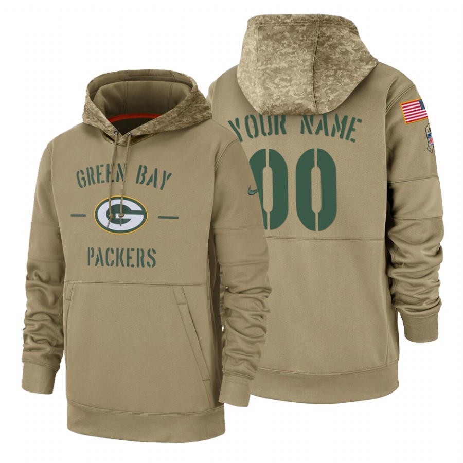 Green Bay Packers Custom Nike Tan 2019 Salute To Service Name & Number Sideline Therma Pullover Hoodie